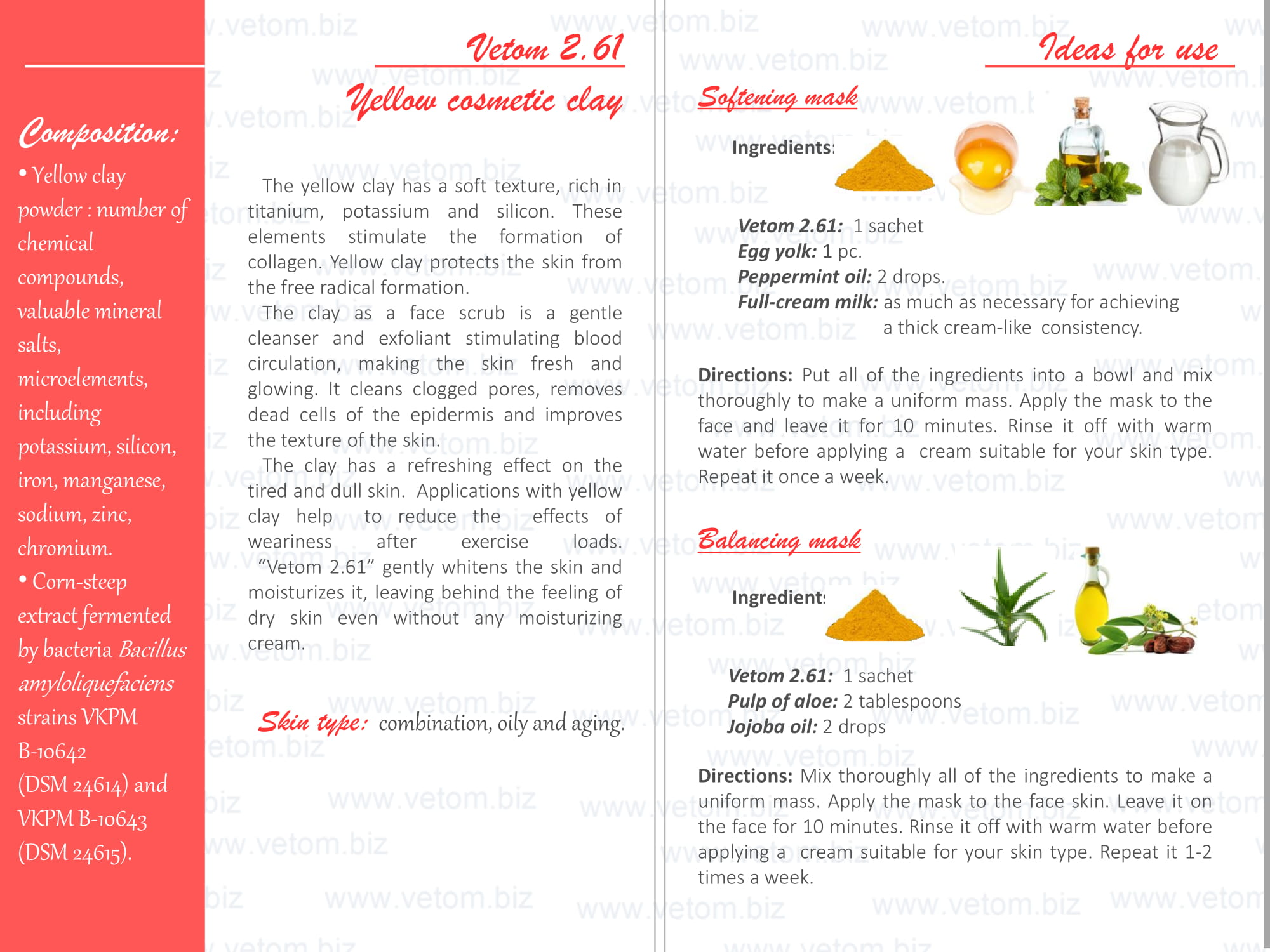 Vetom 2.61 - Yellow cosmetic clay for combination, oily and aging skin types. Ideas for use: Softening mask, Balancing mask.
