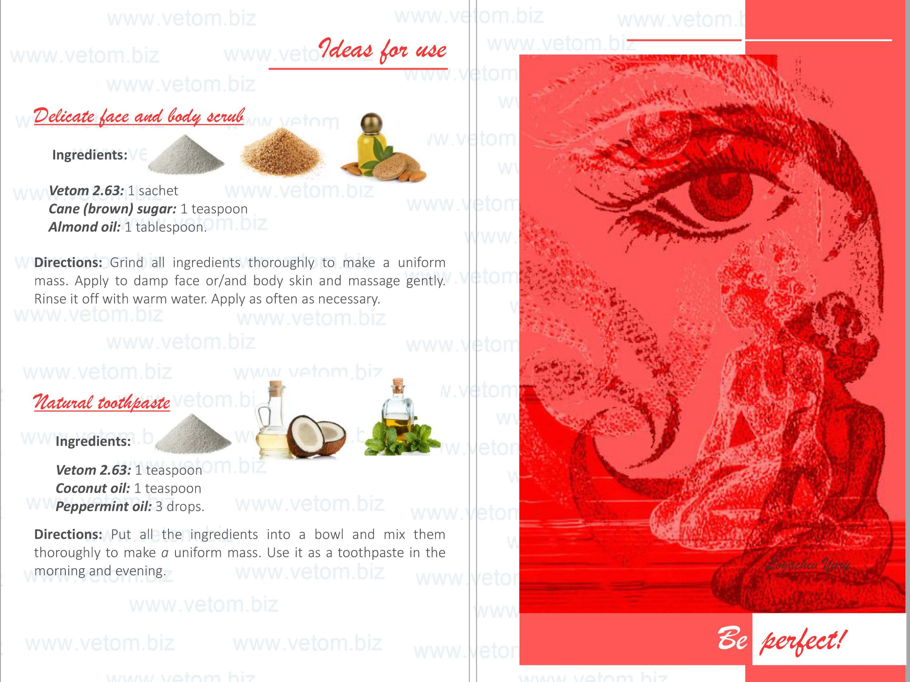 Vetom 2.63 - White cosmetic clay. Ideas for use: Delicate face and body scrub, Natural toothpaste.