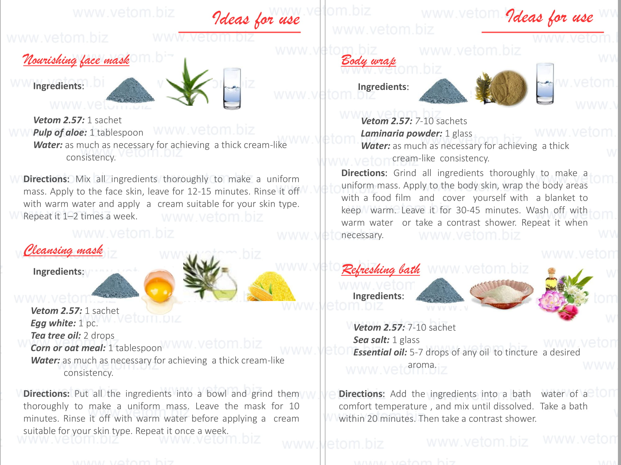 Vetom 2.57 - Blue cosmetic clay. Ideas for use: Nourishing face mask, Cleansing mask, Body wrap, Refreshing bath.