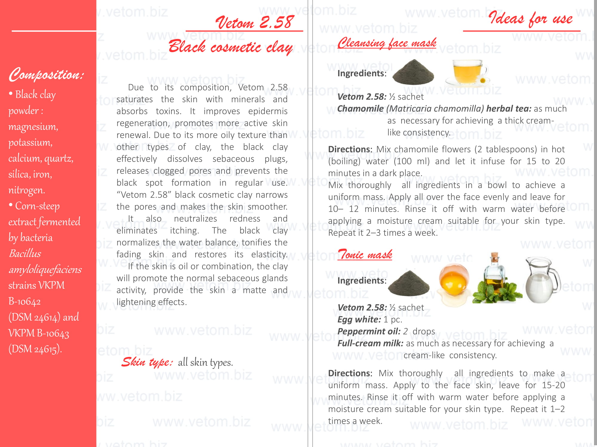 Vetom 2.58 - Black cosmetic clay for all skin types. Ideas for use: Cleansing face mask, Tonic mask.