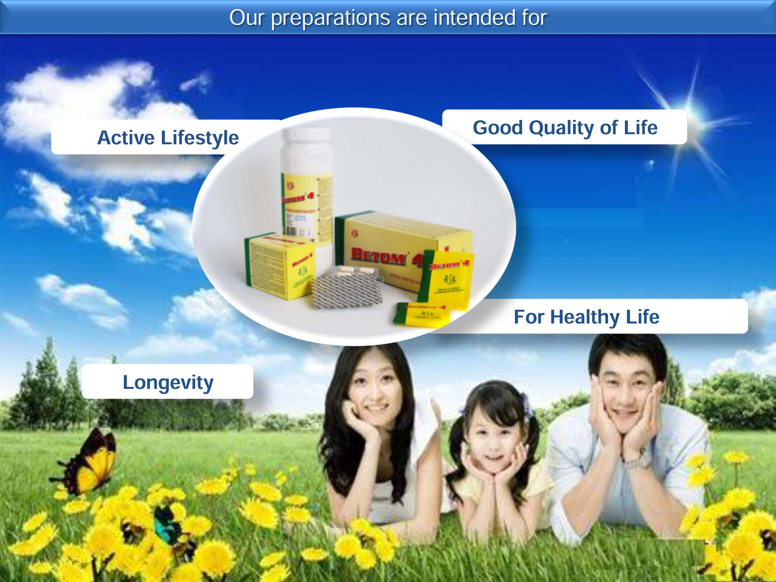 Our preparations are intended for an active lifestyle, longevity, good quality of life, for healthy life