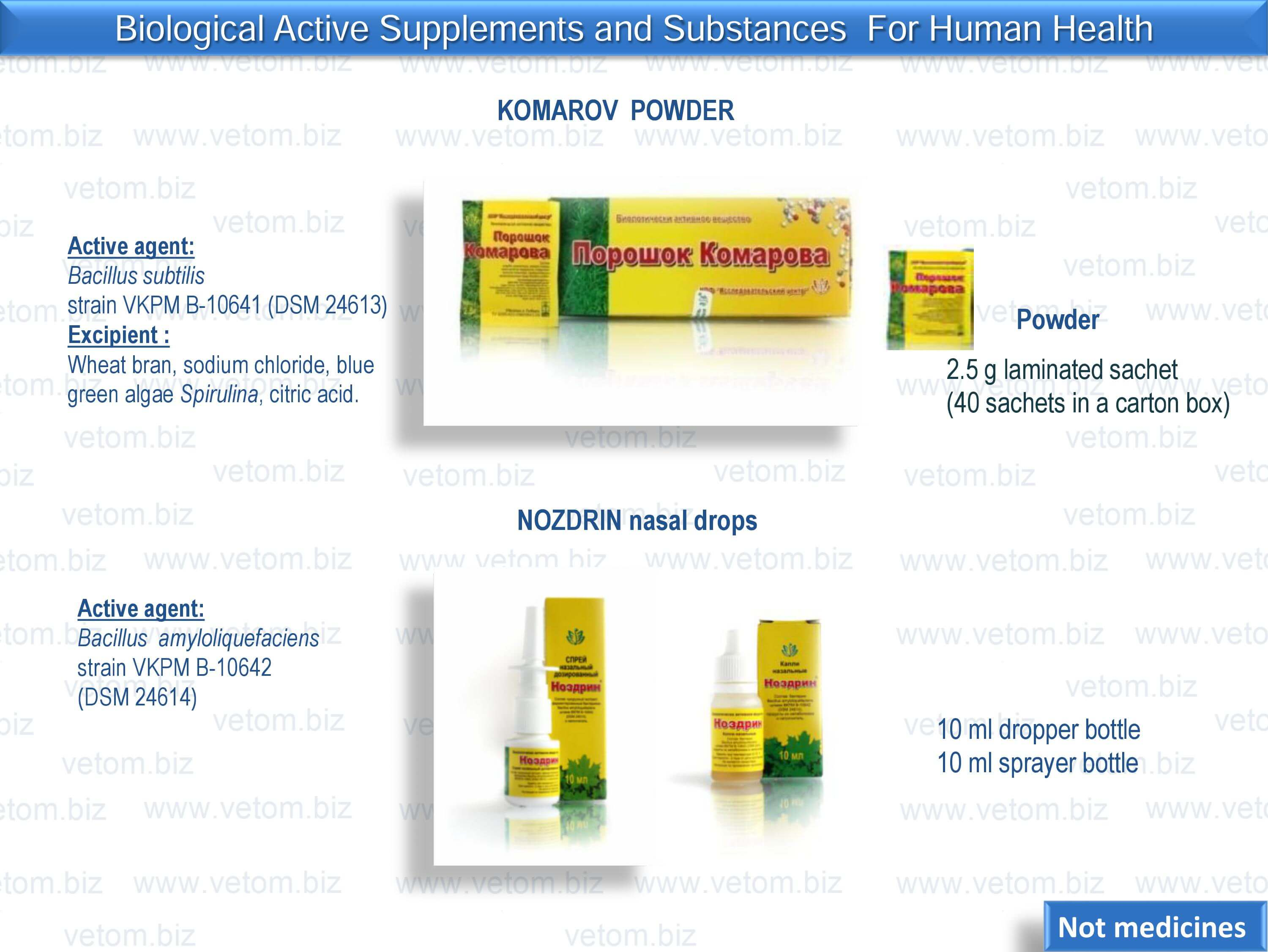 Biologically active supplements and substances for human health - Komarov powder, Nozdrin nasal drops