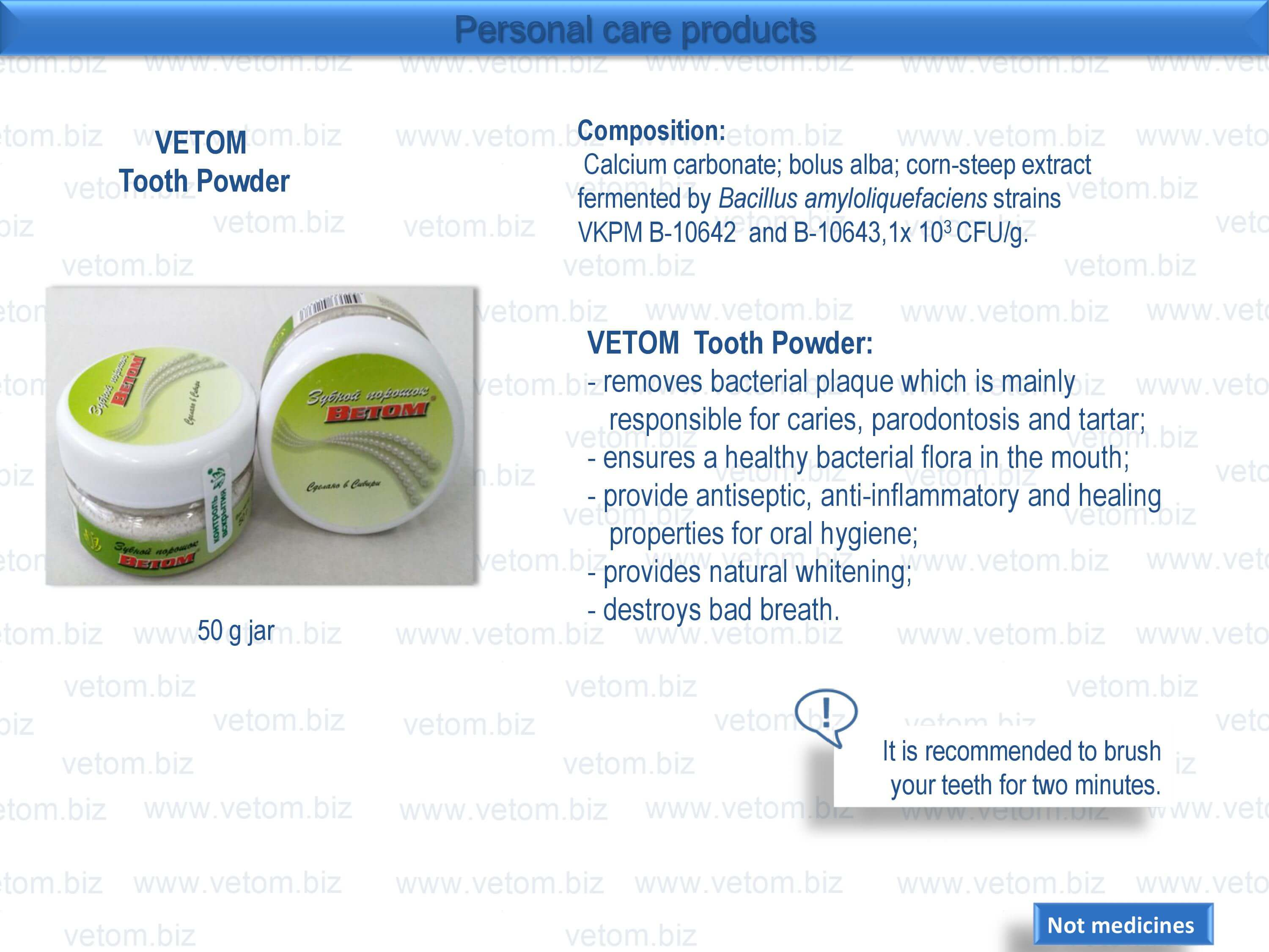 Personal care products - VETOM Tooth Powder