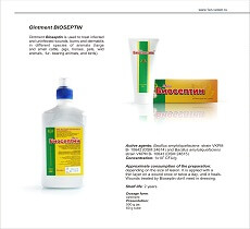 Veterinary preparation Bioseptin ointment for the treatment of infected and uninfected wounds, burns and dermatitis of animals