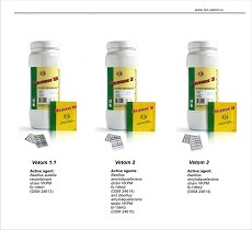 Biologically active supplements Vetom 1, Vetom 2, Vetom 3 with active microorganisms Bacillus subtilis and Bacillus amyloliquefaciens